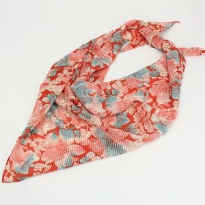 Vintage Red & Teal Floral Pleated Look Scarf